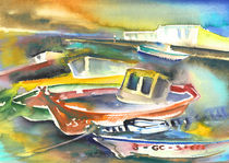 Boats in Lanzarote by Miki de Goodaboom