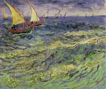 Seascape at Saintes-Maries (View of Mediterranean)  by Vincent Van Gogh