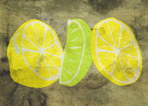 Pop Art Lemon Lime with Canvas Texture and Stains von Denis Marsili