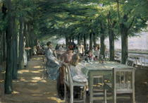 The Terrace at the Restaurant Jacob in Nienstedten on the Elbe by Max Liebermann