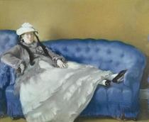 Frau Manet auf einem blauen Sofa von Edouard Manet