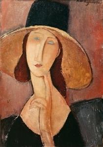 Portrait of Jeanne Hebuterne in a large hat by Amedeo Modigliani