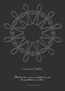 Council of Twelve Mandala w/msg - white design by themandalalady