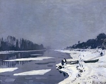 Ice on the Seine at Bougival by Claude Monet