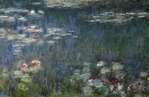 Seerosen, grüne Reflexionen, Detail links von Claude Monet