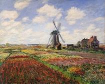 Tulpenfelder bei der Windmühle von Rijnsburg von Claude Monet