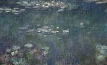 Wasserlilien, Grüne Reflexionen, Detail Zentrum von Claude Monet