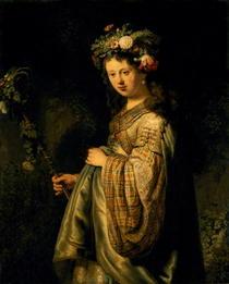 Saskia as Flora by Rembrandt Harmenszoon van Rijn