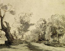 Landscape with a path, an almost dead tree on the left and a foo by Rembrandt Harmenszoon van Rijn