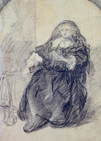 Seated Saskia with a letter in her left hand by Rembrandt Harmenszoon van Rijn
