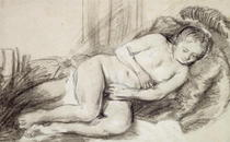 Reclining Female Nude by Rembrandt Harmenszoon van Rijn