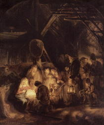 Adoration of the Shepherds by Rembrandt Harmenszoon van Rijn