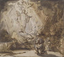 Annunciation to the Shepherds by Rembrandt Harmenszoon van Rijn