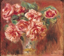 Roses in a Vase by Pierre-Auguste Renoir