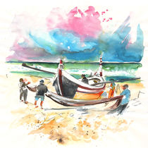 Fishermen in Praia de Mira 03 von Miki de Goodaboom