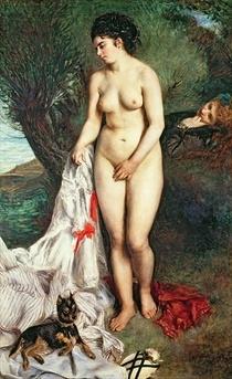Badegast mit einem Griffon von Pierre-Auguste Renoir