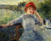 Alphonsine Fournaise at The Grenouillere by Pierre-Auguste Renoir