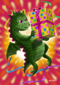 Baby Birthday Dragon with present by Martin  Davey