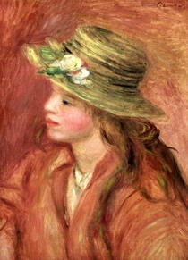 Young Girl in a Straw Hat by Pierre-Auguste Renoir