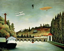View of the Bridge at Sevres and the Hills at Clamart, St. Cloud by Henri J.F. Rousseau