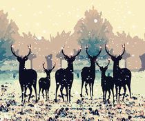 Deer in the snowy forest by Cindy Shim