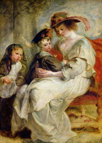 Helene Fourment with Two of her Children, Claire-Jeanne and Fran by Peter Paul Rubens