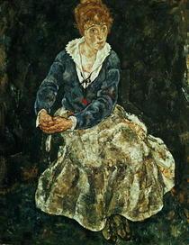 Die Frau des Künstlers sitzend von Egon Schiele
