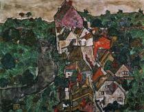Landschaft bei Krumau von Egon Schiele