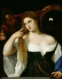 Portrait einer Frau bei der Toilette von Tiziano Vecellio