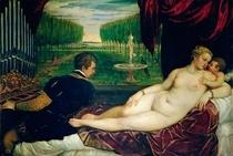 Venus mit Orgelspieler und Amor von Tiziano Vecellio