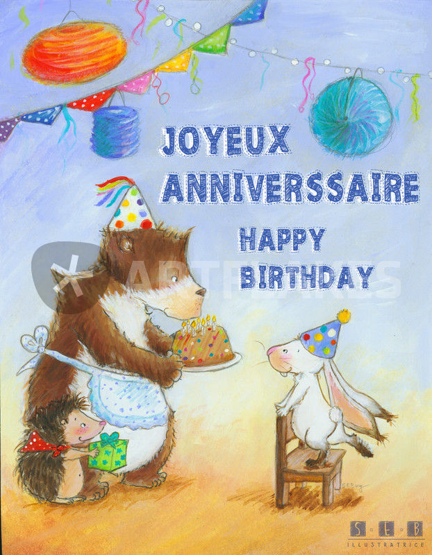 Joyeux Anniversaire Lapin Drawing Art Prints And Posters By Sarah