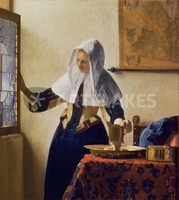 junge frau mit wasserkrug malerei als poster und kunstdruck von jan vermeer bestellen. Black Bedroom Furniture Sets. Home Design Ideas