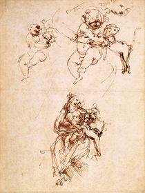 Studie zur Madonna mit einer Katze von Leonardo Da Vinci