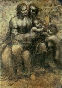 Die heilige Anna mit dem Jesuskind, Maria und Johannes dem Täufe von Leonardo Da Vinci