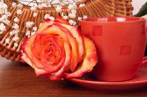 Still life with flowers and coffee mug by larisa-koshkina