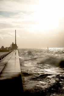 Stormy weather on the Seine dyke, Le Havre by Hilke Maunder
