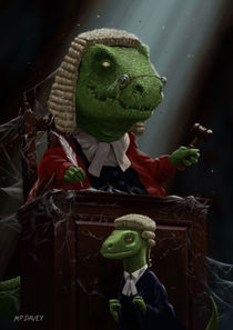 Dinosaur Judge in UK Court of Law by Martin  Davey