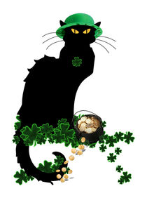 Le Chat Noir with Pot of Gold & Shamrocks by gravityx9