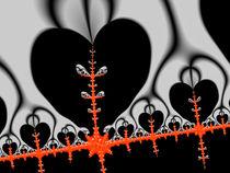 Rotes Fraktal mit schwarzen Herzen von Matthias Hauser