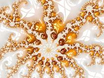 Fraktal Design gold und weiß - moderne Kunst von Matthias Hauser