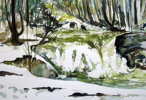 Malen-am-meer-bachlauf-norwegen-aquarell