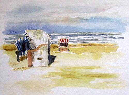 Malen-am-meer-strandkoerbe-aquarell