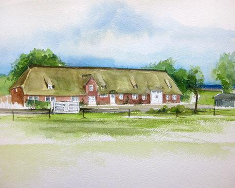reetdachhaus in nordfriesland malerei als poster und kunstdruck von sonja jannichsen bestellen. Black Bedroom Furniture Sets. Home Design Ideas