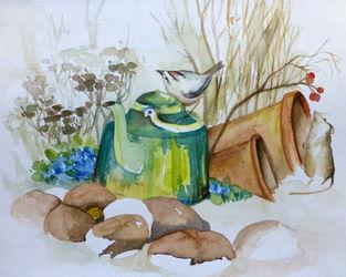 Malen-am-meer-maus-goldhaenchen-aquarell