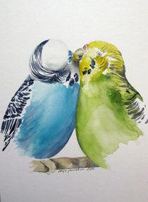 Nur noch einen Kuss - Wellensittiche von Sonja Jannichsen