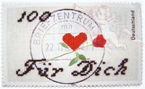 100 Herzen Briefmarke by Helene Souza