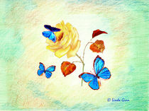 Morph Butterflies on Yellow Rose by Linda Ginn