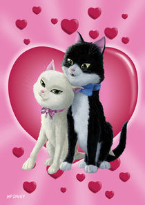 Romantic Cartoon cats on Valentine Heart  by Martin  Davey
