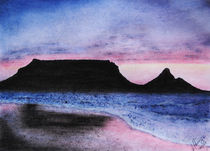 Sunset Table Mountain Sketch by Amy Harmse