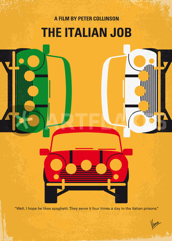 No279 My The Italian Job Minimal Movie Poster Graphic